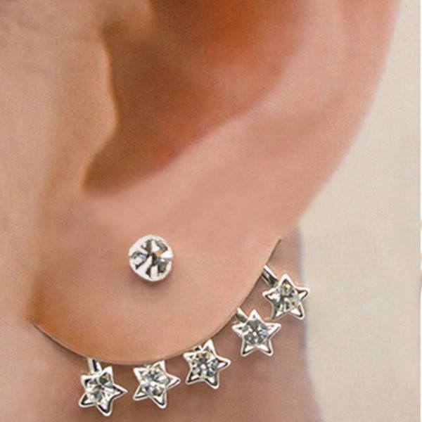1pc Star Shaped Crystal Rhinestone Ear Cuff Stud Pin Earring