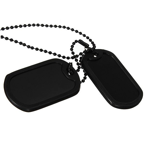 Men Black Military Army 2 Dog Tags Chain Pendant Necklace N045