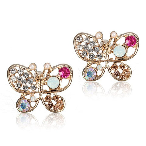Multicolour Crystal Rhinestone Hollow Out Butterfly Stud Earrings