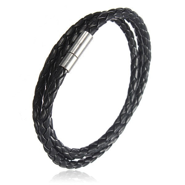 Handmade Braided Leather Stainless Steel Magnetic Buckle Bracelet