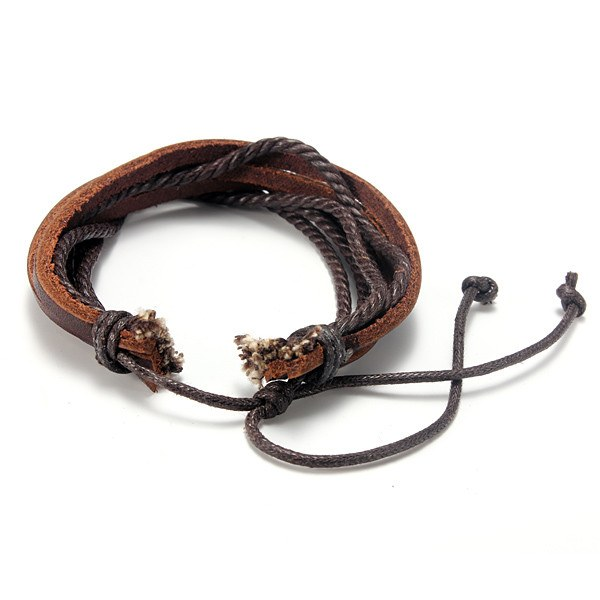 Fashion Unisex Multilayer Leather Woven Braid Rope Bracelet