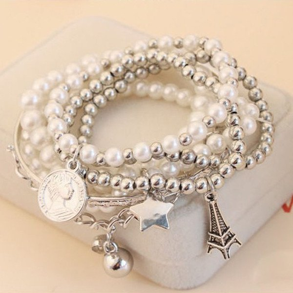 Silver Plated Multilayer Star Coin Eiffel Tower Pearl Beads Bracelet