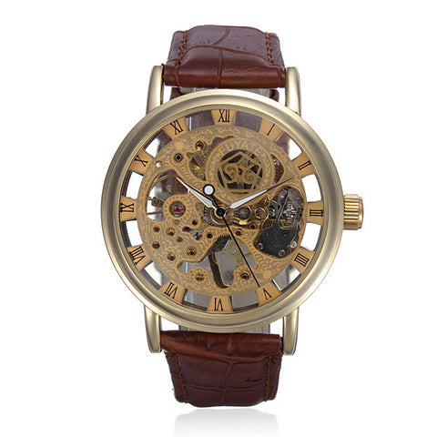 Gold Tone Skeleton Leather Mechanical Hand Wind Wrist Watch