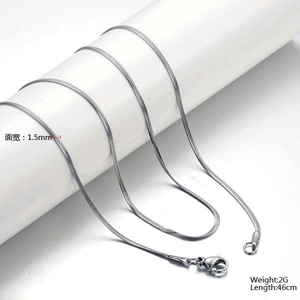Exquisite Men Titanium Steel Oblate Flat Snake Chain Necklace