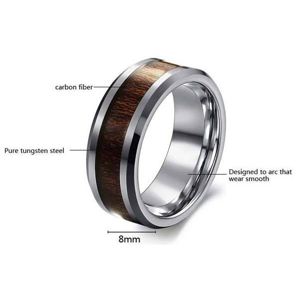 Men Tungsten Steel Carbon Fiber Rosewood Wide Finger Ring