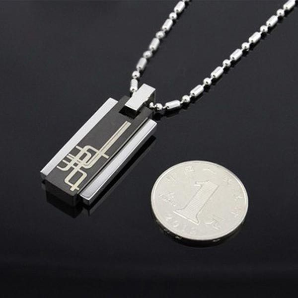 Fahrenheit Men Titanium Steel Charm Rectangle Pendant Black