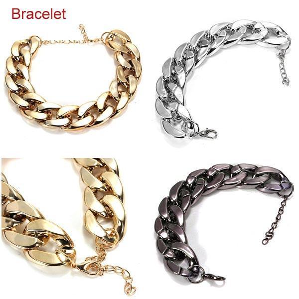 Thick Gold Chain Collar Statement Necklace Bracelet Anklet Jewelry