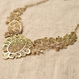 Vintage Flower Statement Choker Necklace Jewelry Bronze