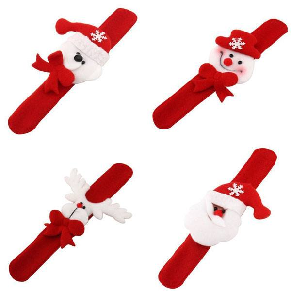 Christmas Decoration Pat Circle Hand Ring Snowman Slap Bracelet Gifts