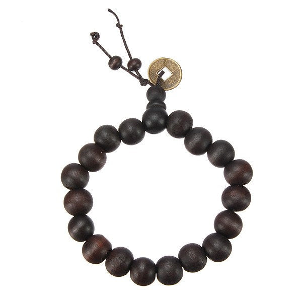Lucky Black Wood Beads Coin Bracelet Unisex