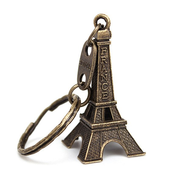 Retro Personalized Eiffel Tower Metal Cute Keychain Bronze Gold