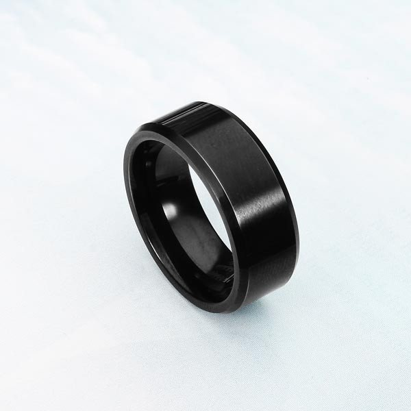 Polishing Mens Tungsten Steel Black Band Ring Men Jewelry