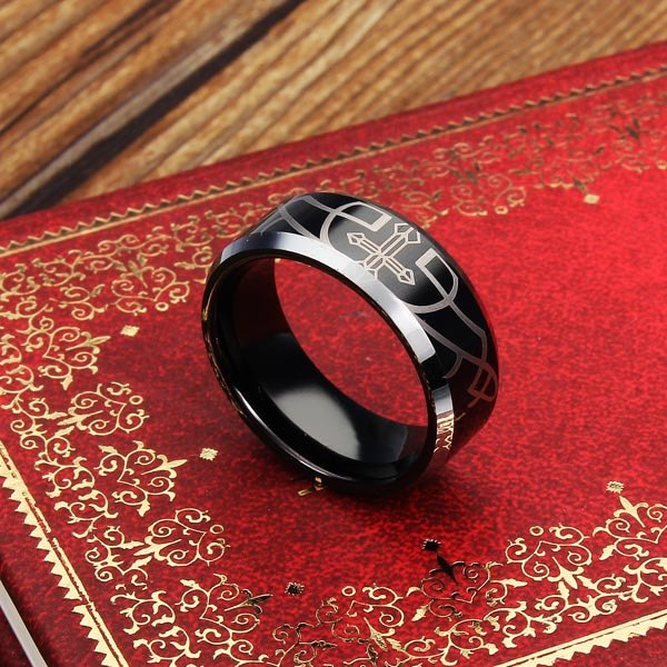 Titanium Stainless Steel Polish Black Men Cross Band Ring