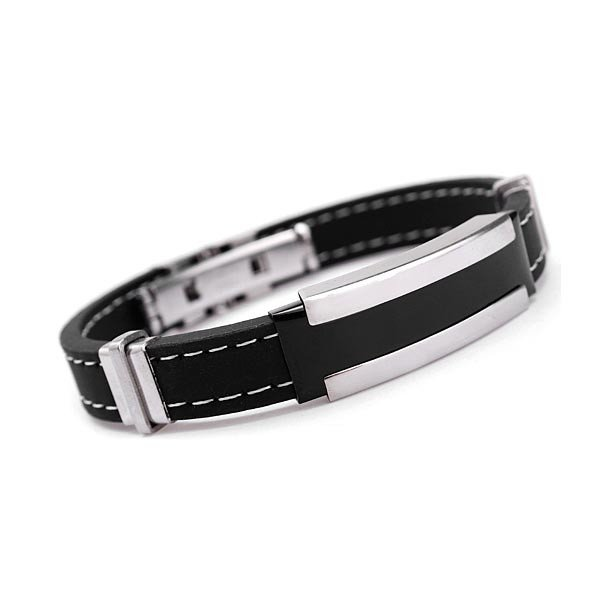 Men Silver Stainless Steel Bangle Bracelet Black Rubber