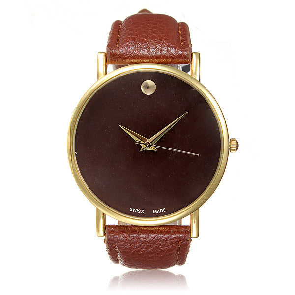 Simple Style No Dial PU Leather Woman Man Analog Quartz Watch