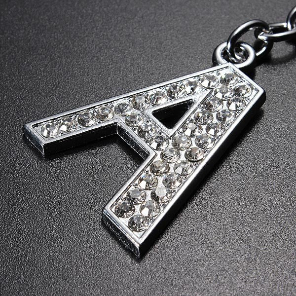Charm Letter Initial Key Ring Shiny Crystal Silver Key Chain Tag