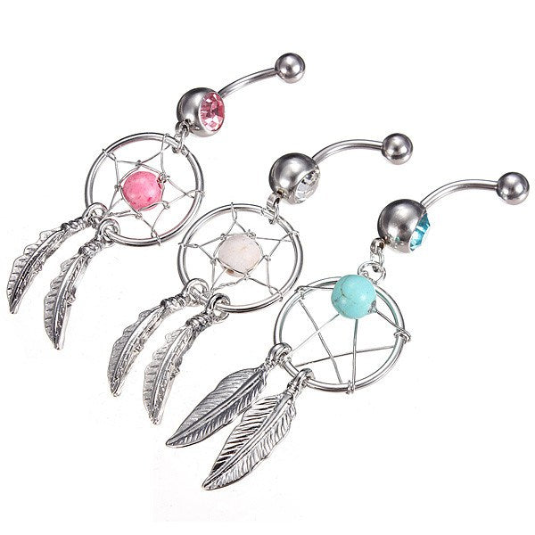 Crystal Dream Catcher Dangle Navel Bar Belly Ring Body Jewelry