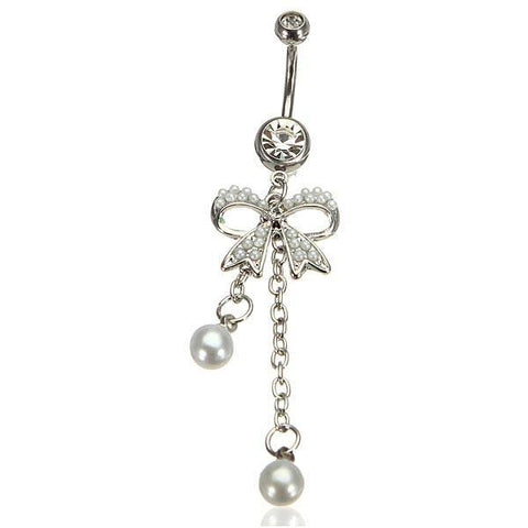 Bowknot Bow Pearl Dangle Belly Ring Navel Ring Piercing Body Jewelry