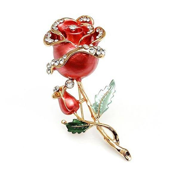 Brooch Rhinestone Crystal Rose Flower Wedding Bridal Pin Brooch