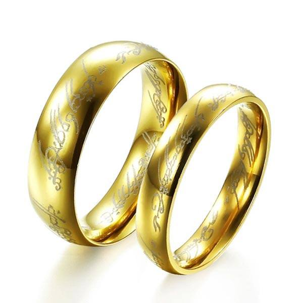 18K Gold Plated Lord of the Rings LOTR Ring Stainless Steel Unisex