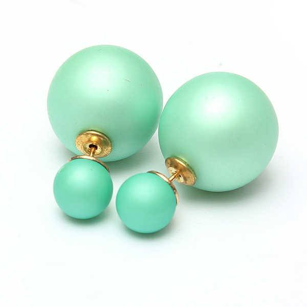 Multicolor Double Beads Earrings Frosted Ear Studs For Women
