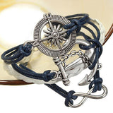 Vintage Anchor Rudder Infinite Symbol Multilayer Leather Rope Bracelet