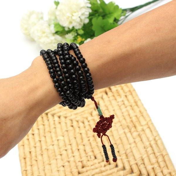 Black Sandalwood Buddhist Buddha Multi Chain Beads Bracelet Necklace