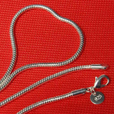 Unisex 3mm Silver Plated Solid Snake Chains Necklace