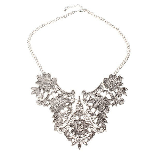 Vintage Silver Plated Flower Statement Choker Necklace Women Jewelry