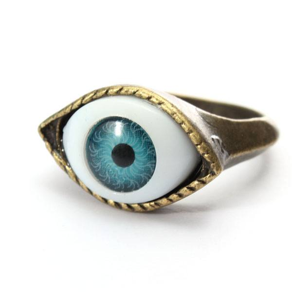 Halloween Vintage Punk Bronze Evil Eye Ring Eyeball Finger Ring