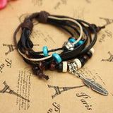 Handmade Leaf Feather Wooden Bead Pendant Cord Leather Surfer Bracelet