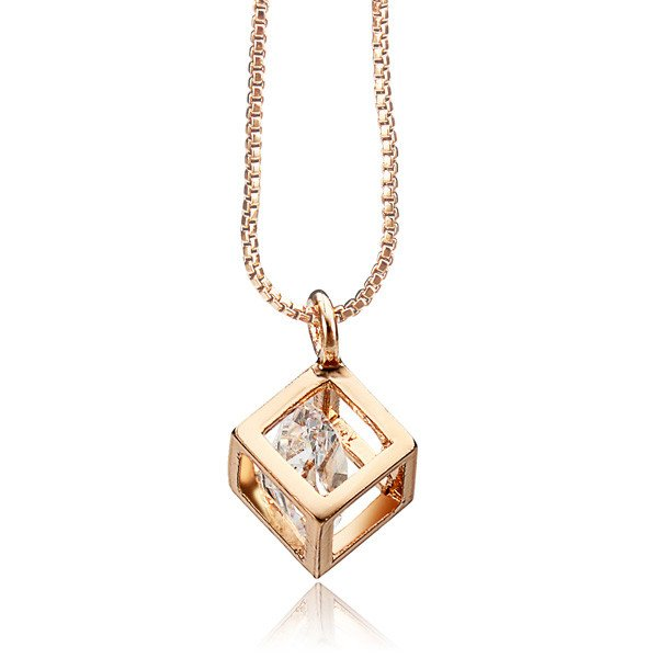 Italina Austrian Crystal Zircon Square Pendant Necklace Gold Silver