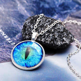 Vintage Dragon Cat Eye Glass Cabochon Silver Plated Pendant Necklace