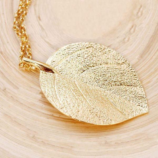 Gold Plated Leaf Pendant Long Chain Sweater Necklace For Women