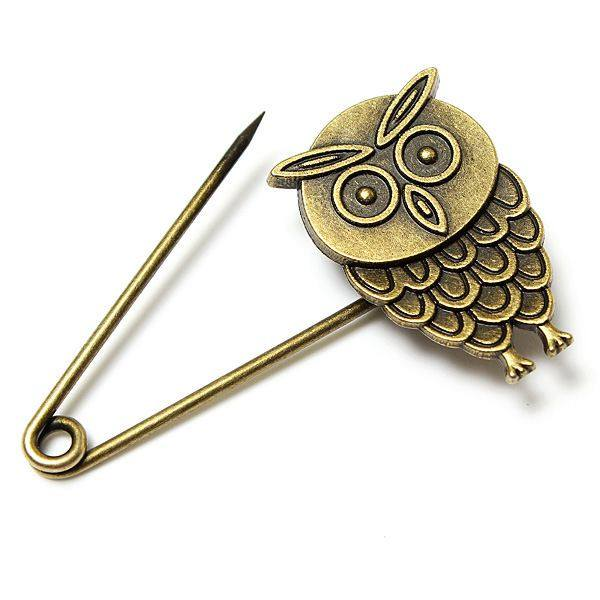 Vintage Bronze Owl Angel Costume Pin Brooch Multi Pattern For Women