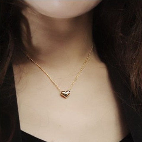 Gold Plated Heart Short Metal Chain Pendant Necklace For Women