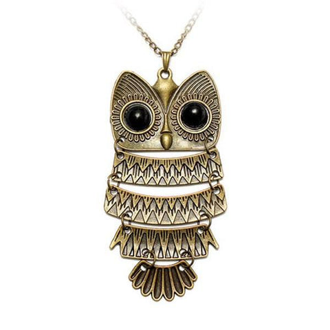 Vintage Antique Silver Bronze Owl Pendant Sweater Necklace Women