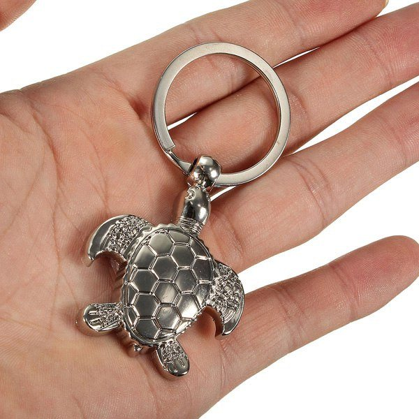 Silver 3D Sea Turtle Model Keyring Metal Key Chain Gift