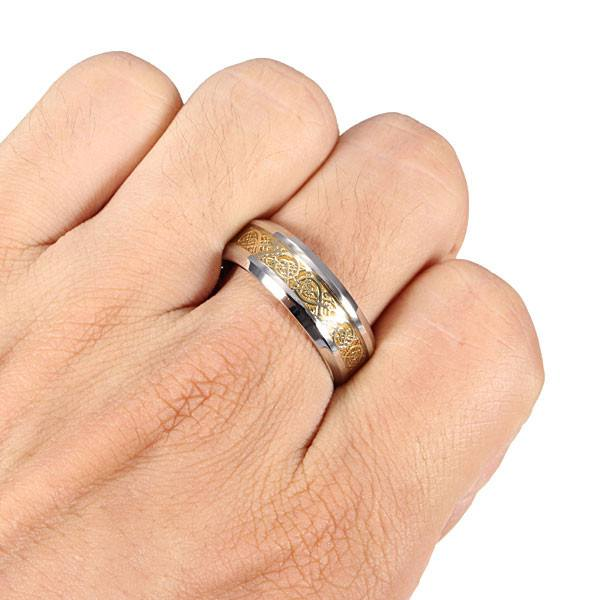 Men Gold Titanium Steel Dragon Scroll Inlay Band Finger Ring