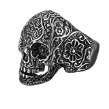 316L Stainless Steel Punk Carved Flower Skull Finger Ring Men Jewelry