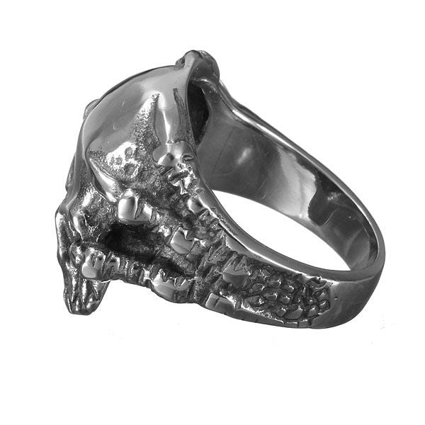 Punk Vintage 316L Stainless Steel Silver Skull Men Finger Ring Jewelry