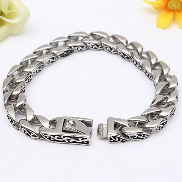 Retro Pattern Mens Stainless Steel Bracelet Silver Tone Chain