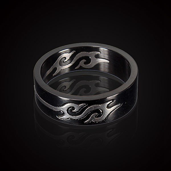 Black Titanium Steel Silver Fire Flame Men Finger Ring Band Ring