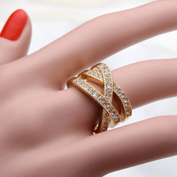 Double Cross Austrian Crystal Women Ring 18K Rose Gold Plated