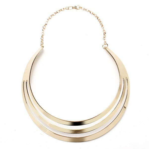 Punk Gold Plated Hollow Metal Bib Choker Necklace Cuff Bracelet Set