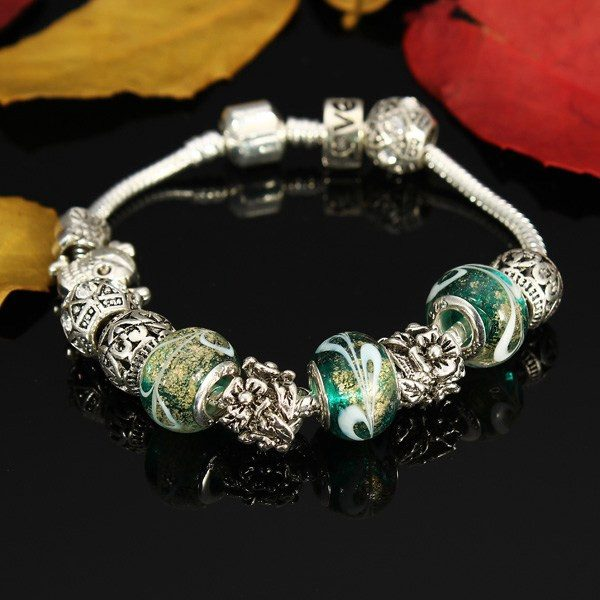 Antique Silver Crystal Glass Beads Bracelet Women Jewelry