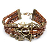 Vintage Owl Wings Triangle Pearl Multilayer Braided Leather Bracelet
