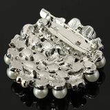 Silver Crystal Rhinestone Pearl Snowflake Pin Brooch For Women