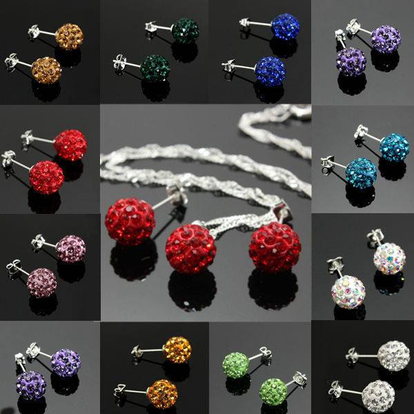 Crystal Ball Bead Pendant Necklace Earrings Jewelry Set For Women