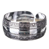 Vintage Carved Metal Tibetan Silver Cuff Bracelet Bangle For Women